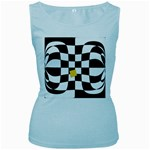 Dropout Yellow Black And White Distorted Check Women s Baby Blue Tank Top