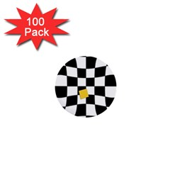 Dropout Yellow Black And White Distorted Check 1  Mini Buttons (100 Pack)  by designworld65