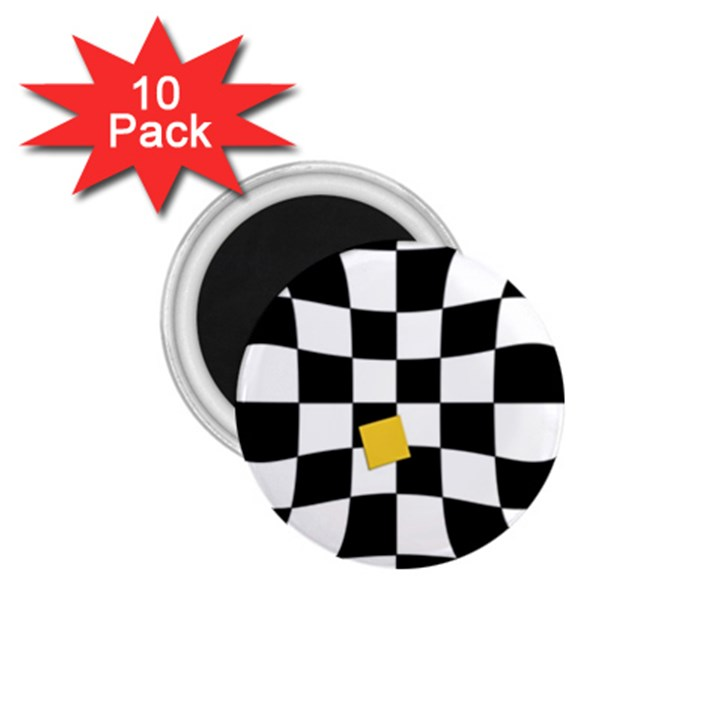 Dropout Yellow Black And White Distorted Check 1.75  Magnets (10 pack)