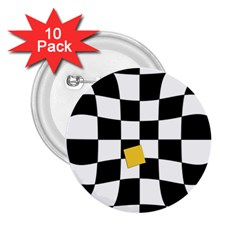 Dropout Yellow Black And White Distorted Check 2 25  Buttons (10 Pack)  by designworld65