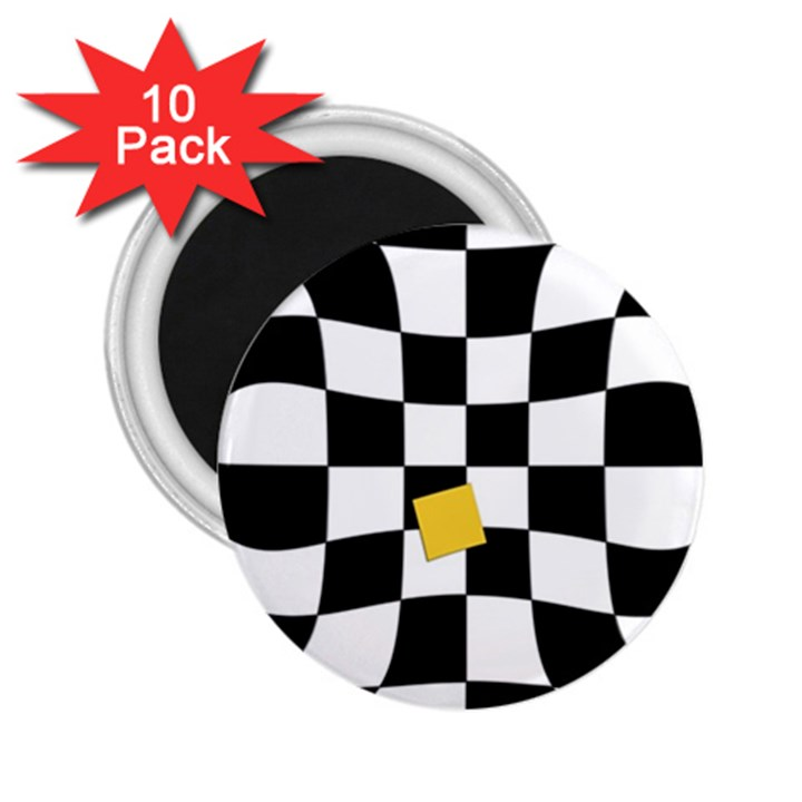 Dropout Yellow Black And White Distorted Check 2.25  Magnets (10 pack)