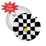 Dropout Yellow Black And White Distorted Check 2.25  Buttons (100 pack)
