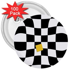 Dropout Yellow Black And White Distorted Check 3  Buttons (100 Pack)  by designworld65