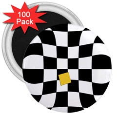 Dropout Yellow Black And White Distorted Check 3  Magnets (100 Pack) by designworld65