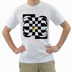 Dropout Yellow Black And White Distorted Check Men s T Shirt (white) (two Sided)