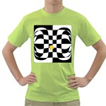 Dropout Yellow Black And White Distorted Check Green T-Shirt