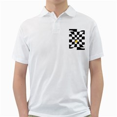 Dropout Yellow Black And White Distorted Check Golf Shirts