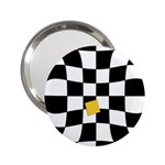 Dropout Yellow Black And White Distorted Check 2.25  Handbag Mirrors Front