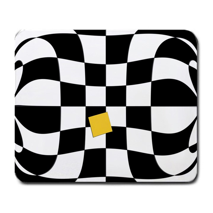 Dropout Yellow Black And White Distorted Check Large Mousepads