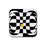 Dropout Yellow Black And White Distorted Check Rubber Square Coaster (4 pack)  Front