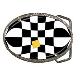 Dropout Yellow Black And White Distorted Check Belt Buckles