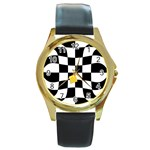 Dropout Yellow Black And White Distorted Check Round Gold Metal Watch