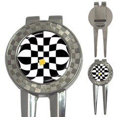 Dropout Yellow Black And White Distorted Check 3 In 1 Golf Divots by designworld65