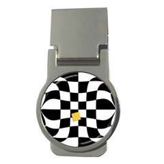 Dropout Yellow Black And White Distorted Check Money Clips (round)  by designworld65