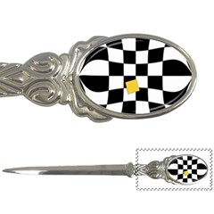 Dropout Yellow Black And White Distorted Check Letter Openers by designworld65