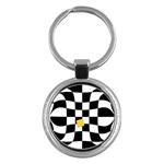 Dropout Yellow Black And White Distorted Check Key Chains (Round)  Front