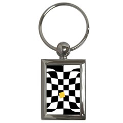 Dropout Yellow Black And White Distorted Check Key Chains (rectangle)  by designworld65