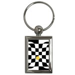 Dropout Yellow Black And White Distorted Check Key Chains (Rectangle)  Front