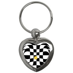 Dropout Yellow Black And White Distorted Check Key Chains (heart)  by designworld65