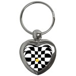 Dropout Yellow Black And White Distorted Check Key Chains (Heart)  Front