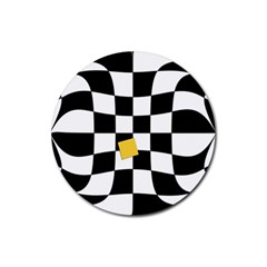 Dropout Yellow Black And White Distorted Check Rubber Coaster (round)  by designworld65