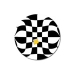 Dropout Yellow Black And White Distorted Check Magnet 3  (Round)