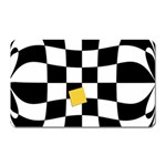 Dropout Yellow Black And White Distorted Check Magnet (Rectangular)