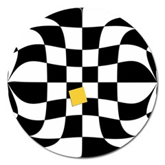 Dropout Yellow Black And White Distorted Check Magnet 5  (round) by designworld65