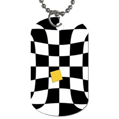 Dropout Yellow Black And White Distorted Check Dog Tag (one Side) by designworld65