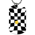 Dropout Yellow Black And White Distorted Check Dog Tag (One Side)
