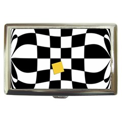 Dropout Yellow Black And White Distorted Check Cigarette Money Cases
