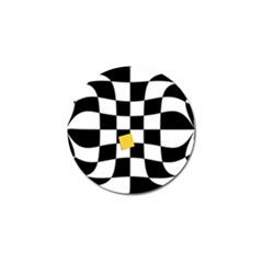 Dropout Yellow Black And White Distorted Check Golf Ball Marker (10 Pack) by designworld65