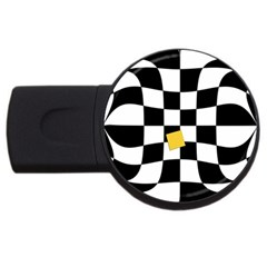Dropout Yellow Black And White Distorted Check Usb Flash Drive Round (2 Gb)  by designworld65