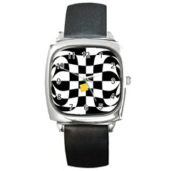 Dropout Yellow Black And White Distorted Check Square Metal Watch by designworld65