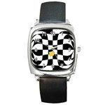 Dropout Yellow Black And White Distorted Check Square Metal Watch Front