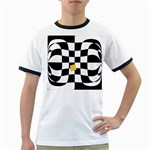Dropout Yellow Black And White Distorted Check Ringer T-Shirts Front