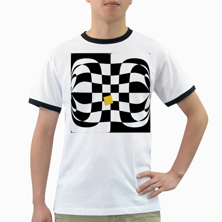 Dropout Yellow Black And White Distorted Check Ringer T-Shirts
