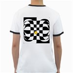 Dropout Yellow Black And White Distorted Check Ringer T-Shirts Back