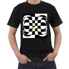 Dropout Yellow Black And White Distorted Check Men s T Shirt (black) (two Sided) by designworld65