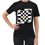 Dropout Yellow Black And White Distorted Check Women s T-Shirt (Black) (Two Sided) Front