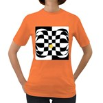 Dropout Yellow Black And White Distorted Check Women s Dark T-Shirt Front