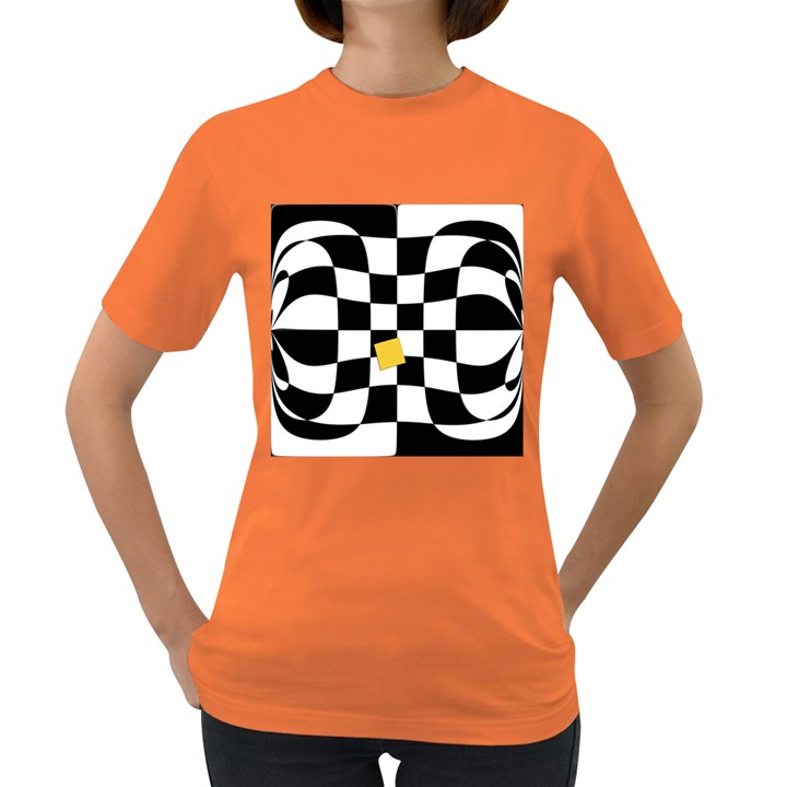 Dropout Yellow Black And White Distorted Check Women s Dark T-Shirt