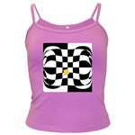 Dropout Yellow Black And White Distorted Check Dark Spaghetti Tank Front