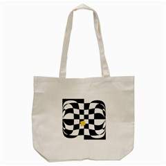Dropout Yellow Black And White Distorted Check Tote Bag (cream) by designworld65