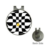 Dropout Yellow Black And White Distorted Check Hat Clips with Golf Markers Front