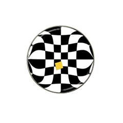 Dropout Yellow Black And White Distorted Check Hat Clip Ball Marker (4 Pack) by designworld65