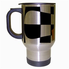 Dropout Yellow Black And White Distorted Check Travel Mug (silver Gray) by designworld65