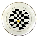 Dropout Yellow Black And White Distorted Check Porcelain Plates Front