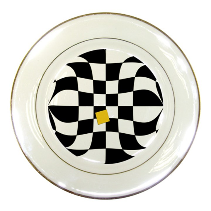 Dropout Yellow Black And White Distorted Check Porcelain Plates