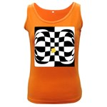 Dropout Yellow Black And White Distorted Check Women s Dark Tank Top Front